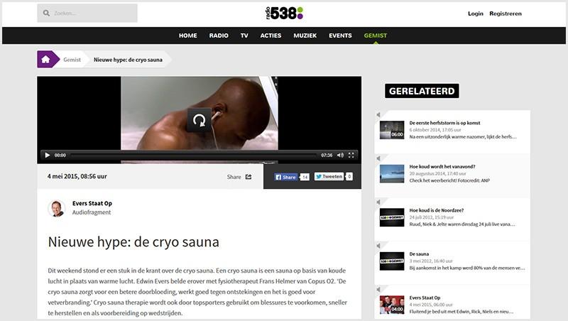 evers staat op cryo sauna 538